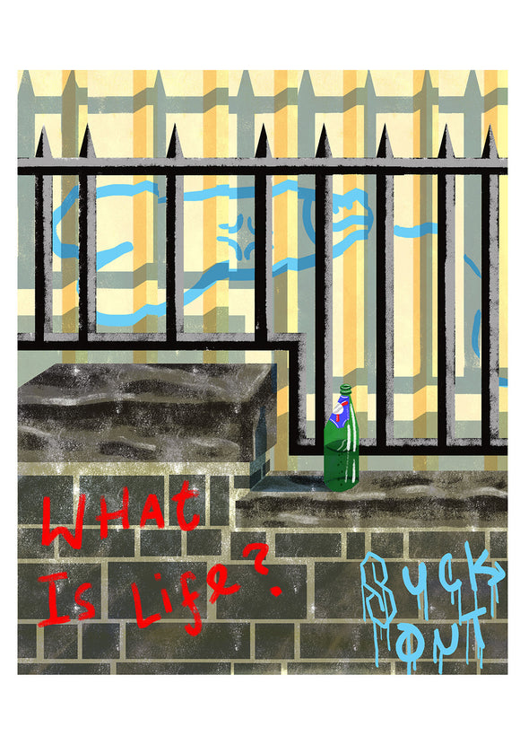Title: What is Life? Artists: Daryl Rainbow Medium: digital illustrations on paper 300 gsm (framed) Edition of 10 Size: 42 cm x 30 cm  'Existential Grafitti'  is a digitally illustrated series. It depicts urbanised scenes and facades having been blessed with angst ridden, existential graffiti and addresses the
