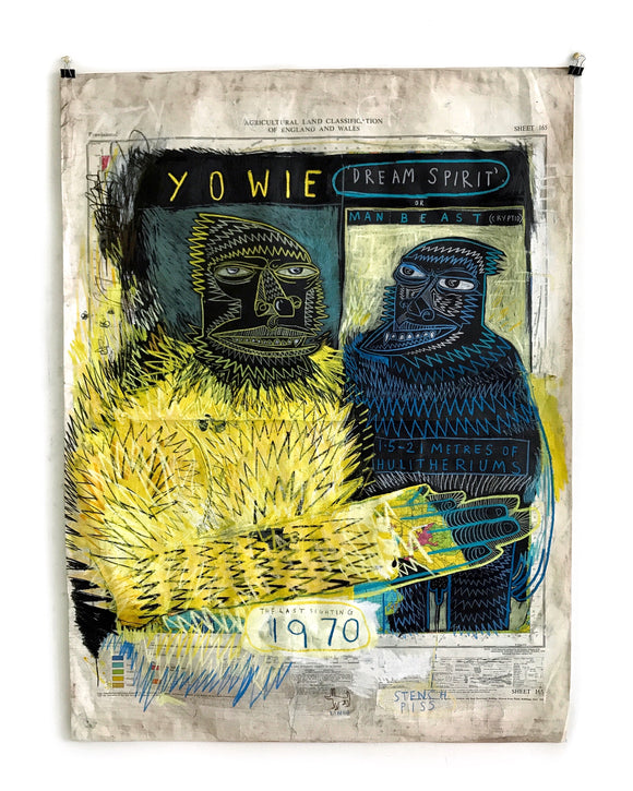Title: Yowie Artist: Stewart Swan Medium: acrylic and oil pastel Size: 100 cm x 75 cm