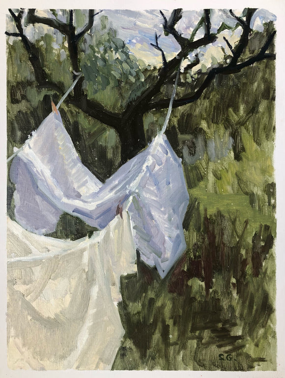 Title: Wet Laundry Artist: Stacey Gledhill Medium: oil on linen Size: 40cm x 30cm