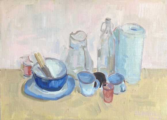 Title: Kitchen Objects Artist: Stacey Gledhill Medium: oil on linen panel Size: 30cm x 40cm (unframed) Broth Art
