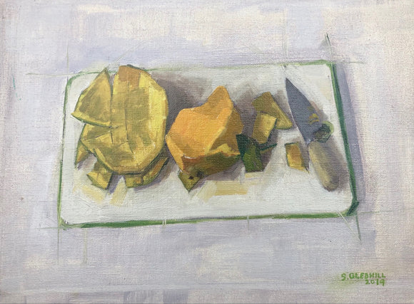 Title: Mango Artist: Stacey Gledhill Medium: oil on linen panel Size: 30cm x 40cm (unframed)