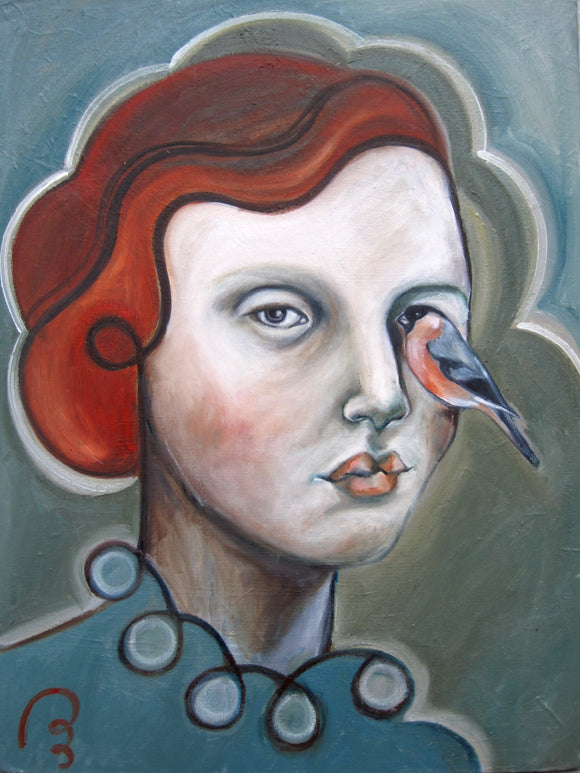 The Woman with Bullfinch by Pum