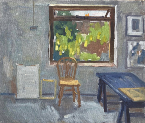 Title: Studio Window Artist: Stacey Gledhill Medium: oil on cotton panel Size: 25cm x 30cm (unframed) Broth Art