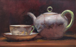 Title: Tea Artist: Andrew Sinclair Medum: Oil on board Size: 20 x 30 cm