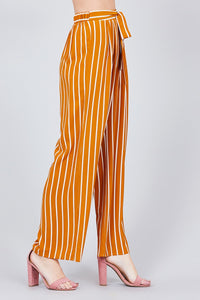 Stripe Print Waist Self Bow Tie Crepe Long Pants