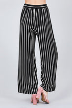Load image into Gallery viewer, Stripe Print Waist Self Bow Tie Crepe Long Pants