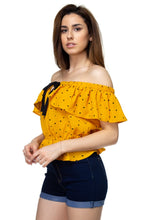 Load image into Gallery viewer, Splat Print Ruffle Cropped Shirt