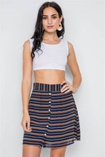 Load image into Gallery viewer, Stripe Button Down High Waist Retro Mini Skirt