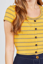 Load image into Gallery viewer, Short Sleeve Round Neck Button Down Stripe Rayon Poly Spandex Rib Top