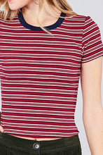 Load image into Gallery viewer, Short Sleeve Crew Neck Multi Stripe Rib Top