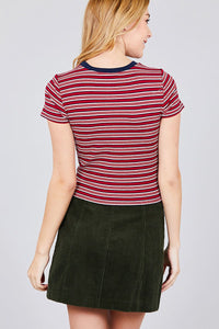 Short Sleeve Crew Neck Multi Stripe Rib Top