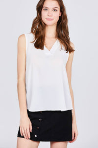 Sleeveless V-neck Woven Top