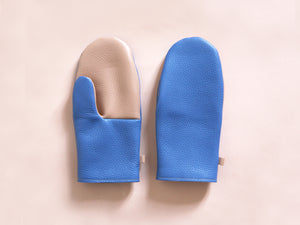 Leather mittens Blue & Nude