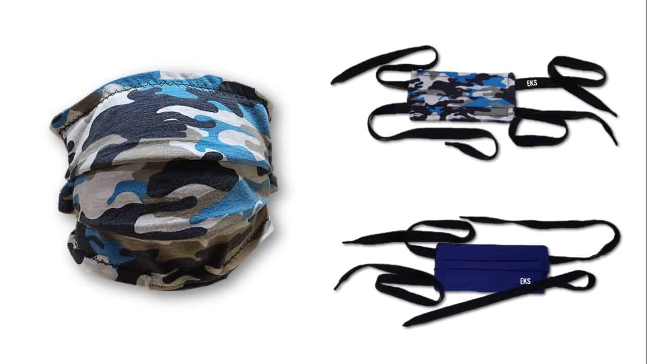 Blue Camo Face Mask with Navy on the reverse