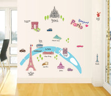 Load image into Gallery viewer, Bonjour ! Paris City Map Removable Wallsticker