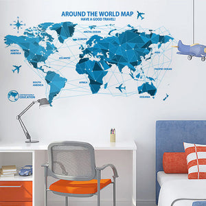 Blue Line World Map removable Wallsticker