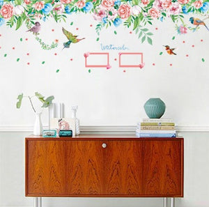 Flowers Photo Frame Ceiling Line Removable WallSticker