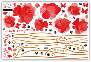 Romantic Red Flower and Butterflies removable WallSticker