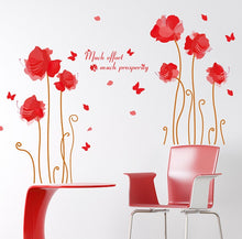Load image into Gallery viewer, Romantic Red Flower and Butterflies removable WallSticker