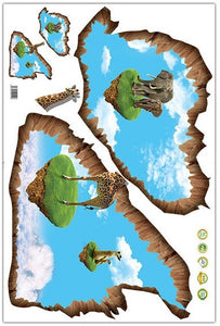 3D Animals Sky Island removable WallSticker