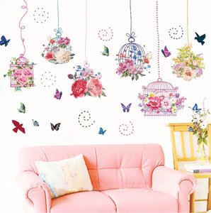 Flower Cages Removable Wallsticker