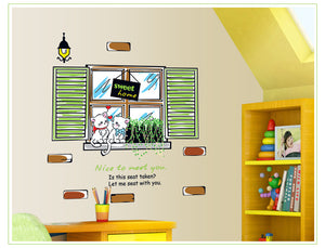 Window Couple Cats Removable Wallsticker
