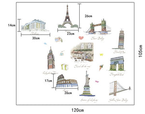 Europe Landmarks Removable Wallsticker