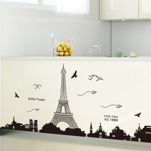 Paris Eiffel Tower Paper Plane Removable Wallsticker