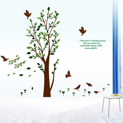 Green Tree and Birds removable WallSticker