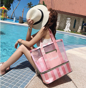 Straight Waterproof Dry and wet separated Mesh Beach bag (3 colors)