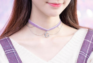 Moon & Star Fancy Purple Chocker (Limited Handcrafts)