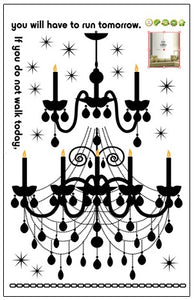 Black Candle Chandelier Removable Wallsticker