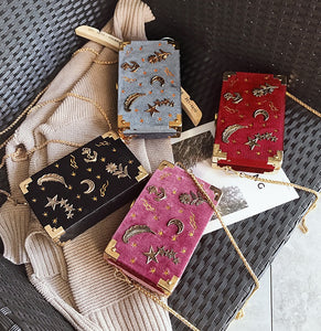 Starry Night Velvet Embroidery Box Clutch Bag (4 colors)