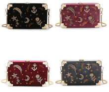 Load image into Gallery viewer, Starry Night Velvet Embroidery Box Clutch Bag (4 colors)