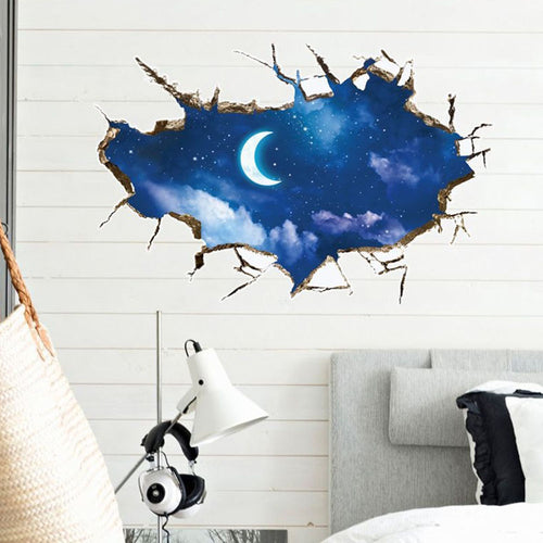 3D Glittering Moon and Star Removable Wallsticker