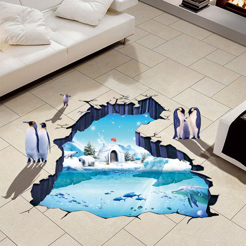 3D Penguin Glacier Removable Wallsticker