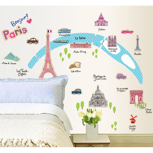 Bonjour ! Paris City Map Removable Wallsticker