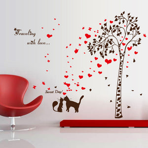Love Cat Tree Removable Wallsticker