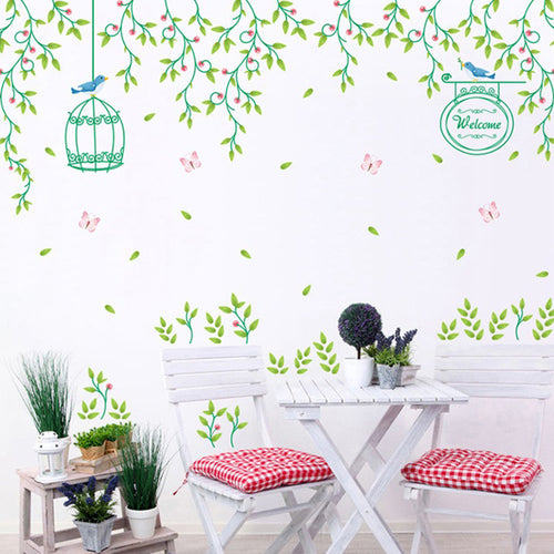 Romantic Flower Vine Bird Cage Removable Wallsticker