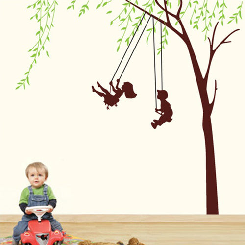 Kids Swing at Tree Removable Wallsticker