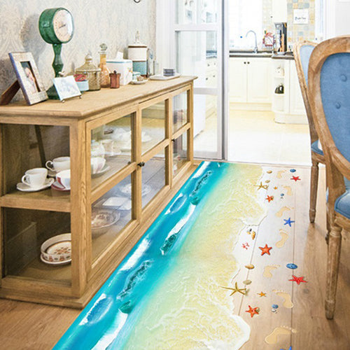3D Beach Footprint Removable Wallsticker