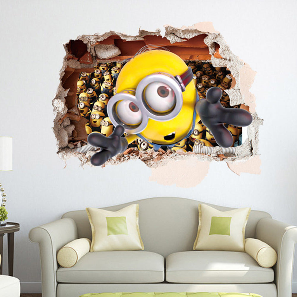 3D Minions Smashed Wall Removable Wallsticker