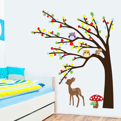Deer and Owl Tree removable WallSticker