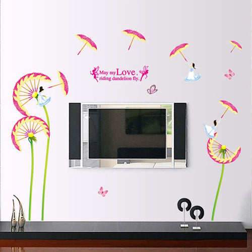 Umbrella Dandelion Fairy removable Wallsticker