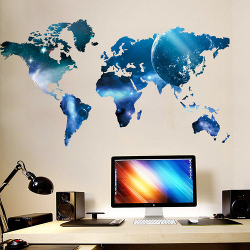 Starry Blue World Map Removable Wallsticker