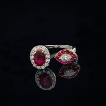 Load image into Gallery viewer, Arcane Ruby & Diamond Twin Ring