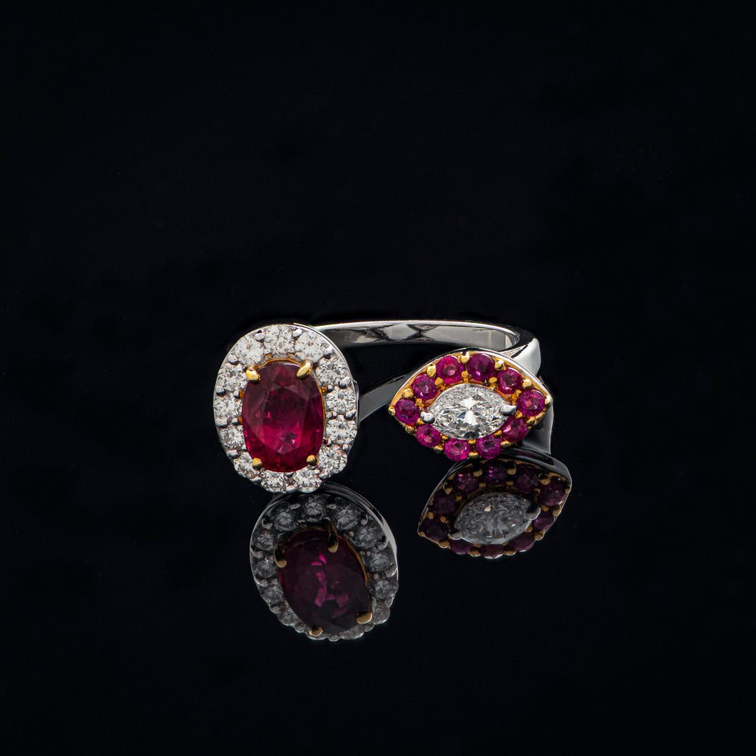 Arcane Ruby & Diamond Twin Ring