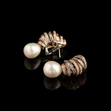 Load image into Gallery viewer, Diamond & Pearl Spiral Earrings