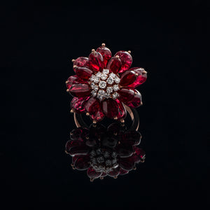 Lava Red Spinel & Diamond Ring