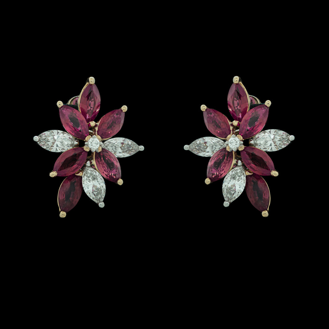 Cluster Ruby & Diamond Stud Earrings